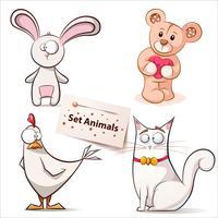 Kanin, höna, björn, katt - uppsatta djur.