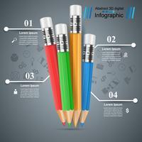 Bleistift, Bildungssymbol. Geschäftsinfografik.