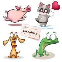 Gris, tvättbjörn, hund, groda - uppsatta djur.