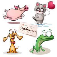 Schwein, Waschbär, Hund, Frosch - Settiere.