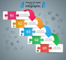 Puzzle Geschäft Infografik. Fünf Papierartikel.