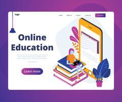 Isometrisches Artwork-Konzept der Online-Bildung