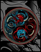 Zwillingsschlange, Schlange Ying Yang Vektor Handzeichnung