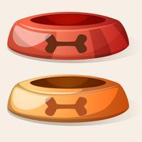 Cartoon-Hundeschüssel. Rot und gelb. vektor