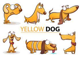 Stellen Sie gelbe Karikaturillustration des Hundes 2018 ein. vektor