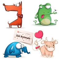 Hund, groda, elefant, kouppsatta djur.