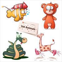 Fisk, björn, orm, giraff - uppsatta djur. vektor