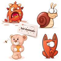 Monster, snigel, björn, katt - tecknade tecken.