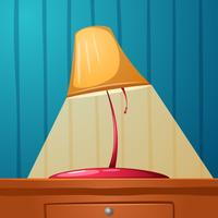 Bordslampan ligger på bordet. Väggpapper i remsan.