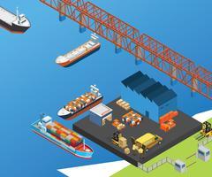 Schiffe auf dem Dockyard Isometric Artwork Concept