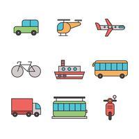 Skisserade transport ikoner vektor