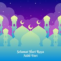 Hari Raya hälsningar mall med moskébakgrund