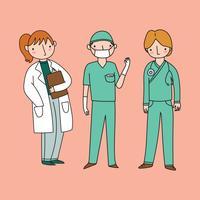 Sjukvårdspersonal Doodles vektor