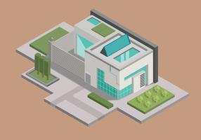 Minimalistisches elegantes Haus-isometrischer Vektor