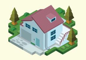 Mysigt minimalistiskt hus isometrisk vektor