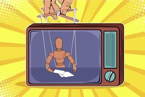 Der Korrespondent als Puppe kontrolliert den Puppenspieler. Gefälschte Nachrichten im Fernsehen. Bunte Vektorillustration in der Retro- komischen Art der Pop-Art vektor