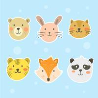 Platt söt djur ansikte vektor samling