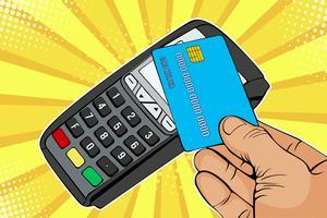 POS-Terminal, Bankomat mit Kreditkarte. Kontaktloses Bezahlen mit NFC-Technologie. Bunte Vektorillustration in der Retro- komischen Art der Pop-Art