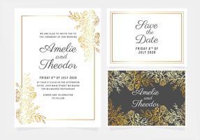 Vektor guld blommig bröllopsinbjudan