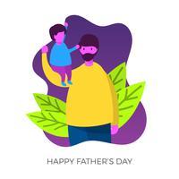 Glad fars dag pappa med barn vektor