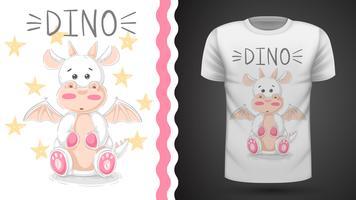 Rolig dino - idé för tryckt-shirt