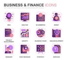Modern Set Business och Finance Gradient Flat Ikoner för webbplats och mobilappar. Innehåller sådana ikoner som analys, pengar, redovisning, strategi, bank. Konceptuell färg plattikon. Vektor piktogram pack.