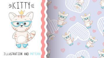Söt prinsessakattunge - sömlöst mönster