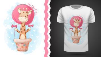 Giraff och luftballong - idé för tryckt-shirt