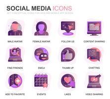 Modern Set Social Media och Network Gradient Flat Ikoner för webbplats och mobilappar. Innehåller sådana ikoner som Avatar, Emoji, Chating, Likes. Konceptuell färg plattikon. Vektor piktogram pack.