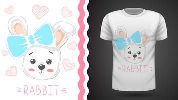 Nettes Kaninchen mit Herzen - Idee für Druckt-shirt