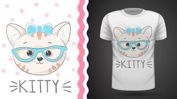 Pretty kittty idé för tryckt t-shirt