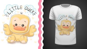 Süße Ente - Idee für Print-T-Shirt. vektor