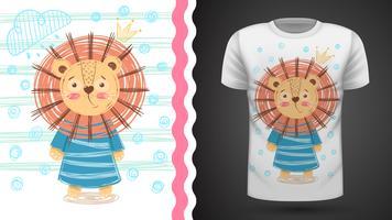 Söt lejon - idé för tryckt-shirt. vektor