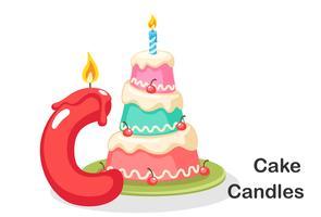 C för tårta och ljus