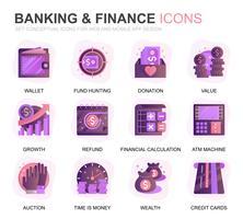 Modern Set Banking och Finance Gradient Flat Ikoner för webbplats och mobilappar. Innehåller sådana ikoner som balans, e-bank, auktion, finansiell tillväxt. Konceptuell färg plattikon. Vektor piktogram pack.