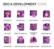Modern Set SEO und Development Gradient Flat Icons für Website und Mobile Apps. Enthält Symbole wie Clean Code, Datenschutz, Überwachung. Konzeptionelle Farbe flach Symbol. Vektor-Piktogramm-Pack