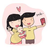 Junges Elternteil der glücklichen Familie, das selfie Foto mit Baby macht