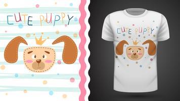 Gullig valp - idé för utskriftst-shirt.