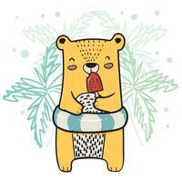 niedlichen gelben Bären mit Rettungsring mit Erdbeer-Eis am Stiel in der Sommerzeit zeichnen vektor