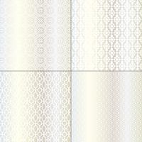metalliska silver och vita marockanska mönster vektor