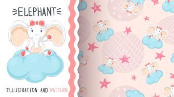 Elefant med luftballong - sömlöst mönster