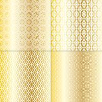 metalliska guld och vita marockanska mönster vektor