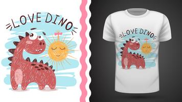 Dino och sol - idé för tryckt-shirt.