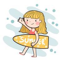 tecknad söt glad surfer tjej som håller sommar surfplatta platt vektor