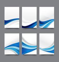 Abstrakte Hintergrundsammlung der blauen und weißen Hintergrundvektorillustration der Kurvenwelle