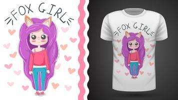 Söt liten prinsessa - idé för tryckt t-shirt vektor