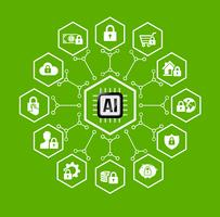 AI Künstliche Intelligenz Technologie für Schutz- und Sicherheitsikone und Gestaltungselement vektor