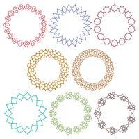 färgglada marockanska cirkelramar vektor