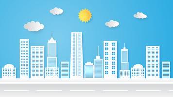 Illustration av stadsbild, byggnad och horisont, urbana landskap.