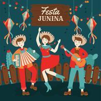Handritad Festa Junina Brasilien junifestival. Folklore Holiday.